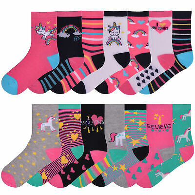 Girls 7 Pairs Ankle Socks Childrens Kids Coloured Novelty Unicorn Design Socks