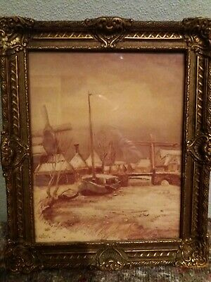 Old Vintage gulid framed picture  of windmill river and boat  signed A colnot