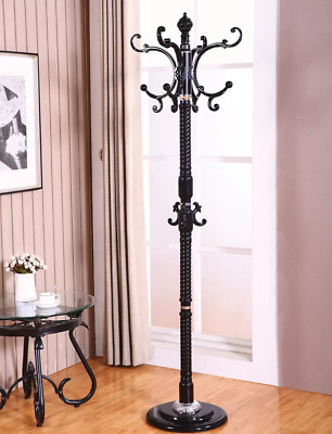 Entryway Coat Rack Metal Hallway Standing Hall Tree Holder Hats Vintage Antique