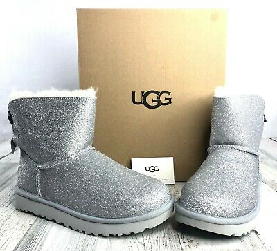 6b0b985ef Ugg Womens Mini Bailey Bow Sparkle Ankle Boots Fur Australia Silver Size 7