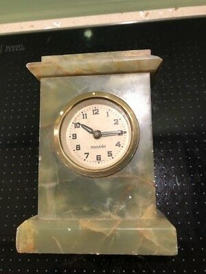 Antique German Art Deco Onyx Mantle clock . Mercedes