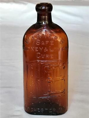 Antique Amber Glass Bottle Warner's Safe Liver & Kidney Cure Rochester NY