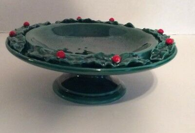 Lefton Christmas Holly Berry Pedestal Bowl Lefton Christmas Bowl