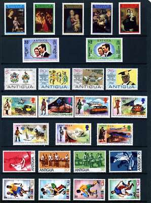 ANTIGUA 1973 -74 : 6 COMMEMORATIVE SETS 26 STAMPS Unmounted Mint/MNH. See List