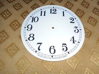 For American Clocks- Paper Clock Dial-125mm M/T-Arabic-GLOSS WHITE-Parts /Spares