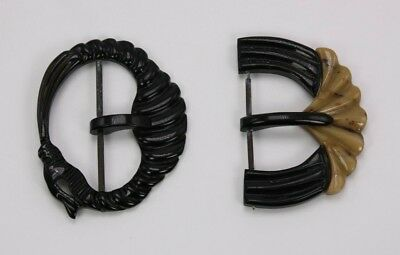 Lot 2 Vtg Carved (Bakelite Look) Black Carved Antique Celluloid Belt Buckles