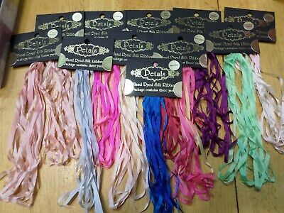 Lot 11 Petals Hand Dyed Silk Ribbons - 3 yards each - various colors NEW
