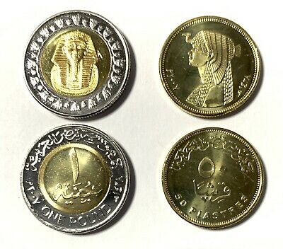2007 Egypt 2 Coins Uncirculated King TUT & Cleopatra