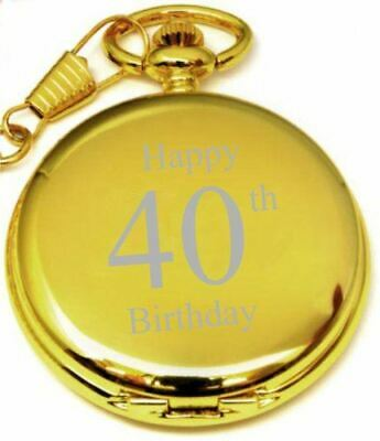 Personalised 40Th Birthday Pocket Watch Gold With Chain Pw195