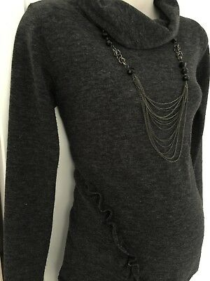 Maternity jumper dress charcoal grey top fitted size S / M 8 - 10 great cond