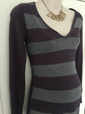 Maternity jumper / dress grey purple top fitted size S 8 great cond rushed