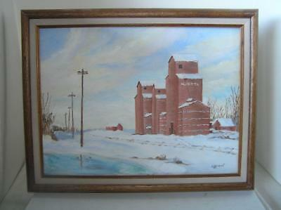Original Oil Painting Alberta Landscape Old Mill by E.G. Grant 16x20 framed