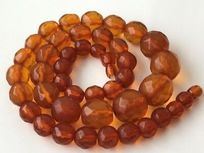 VINTAGE Beautiful Butterscotch Egg Yolk Baltic Amber Faceted Beads Necklace 44gr