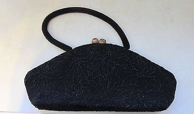 VINTAGE 1940's BEAUTIFUL BLACK BEADED COCKTAIL EVENING HANDBAG PURSE