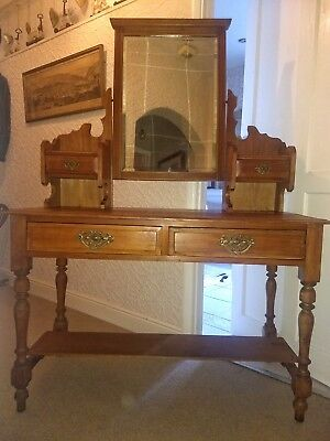 Victorian Mahogany Dressing Table / Writing Desk with mirror and draws