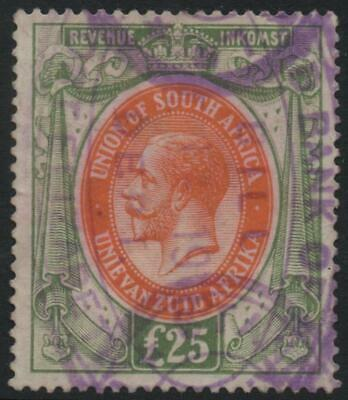 SOUTH AFRICA: c.1913 £25 Orange & Green Revenue Stamp - Fiscally Used (22206)