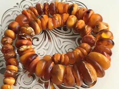 RARE Natural Antique Baltic Vintage Amber OLD BUTTERSCOTCH  BEADS Necklace 59 gr