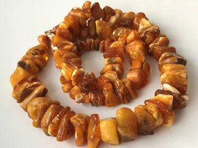 Natural Antique Baltic Vintage Amber OLD BUTTERSCOTCH  BEADS Necklace 83 gr!