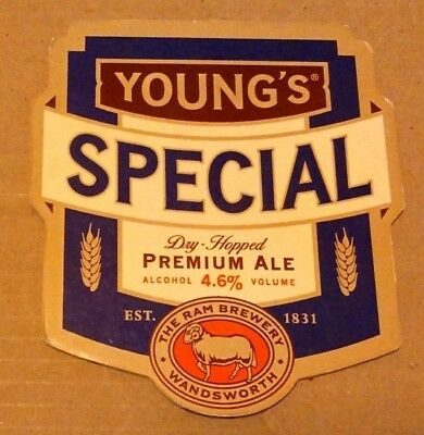 Beer pump clip badge front YOUNG'S brewery SPECIAL cask ale