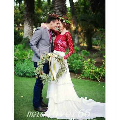 Red And White Wedding Dresses Long Sleeve Lace Chiffon Beach Boho Bridal Gowns
