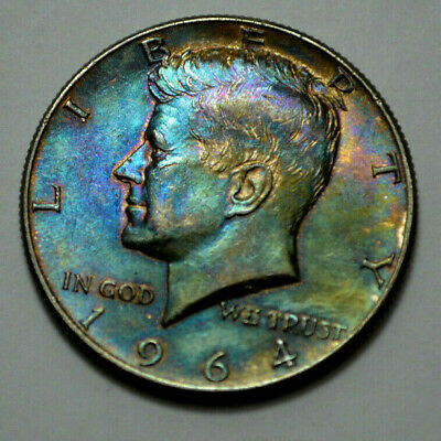 1964-D KENNEDY HALF DOLLAR 90% Silver COIN, 50c!! TONED , No Reserve !