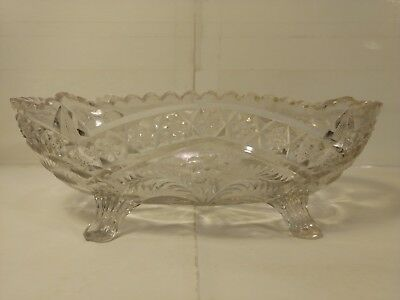 "Vintage 9.5"" Patterned Glass Candy Dish Bowl With 4 Feet hd919"