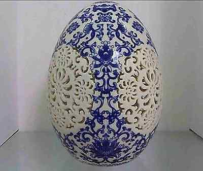 old chinese blue and white porcelain porcelain Egg shape Openwork carving d01