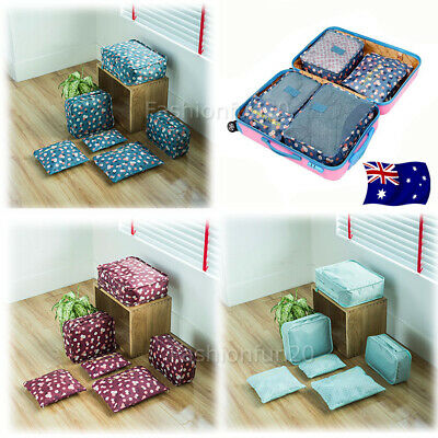 NEW 6X Travel Luggage Suitcase Organiser Packing Cubes Set Bags Backpack Pouches