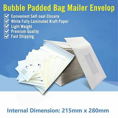215mm x 280mm Bubble Padded Bag Mailer White Printed Kraft Cushioned Envelopes