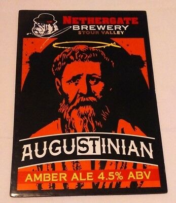 Beer pump clip badge front NETHERGATE brewery AUGUSTINIAN cask ale NEW & UNUSED