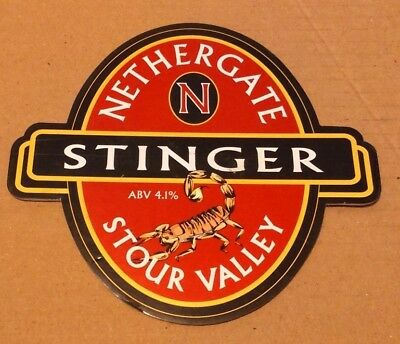 Beer pump clip badge front  NETHERGATE brewery STINGER cask ale scorpion