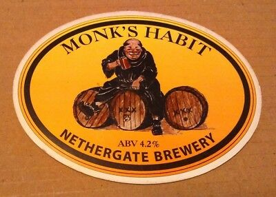 Beer pump clip badge front  NETHERGATE brewery MONK'S HABIT cask ale