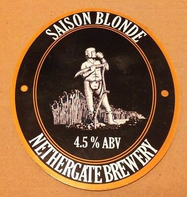 Beer pump clip badge front  NETHERGATE brewery SAISON BLONDE cask ale