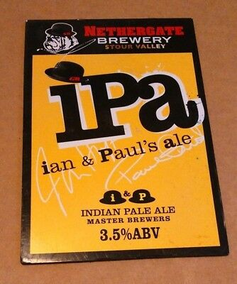 Beer pump badge clip NETHERGATE brewery IPA cask ale pumpclip front Ian & Paul's