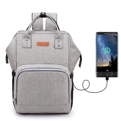 Maternity Bag Baby Nappy Diaper Changing Backpack Mummy Rucksack w/ USB Port
