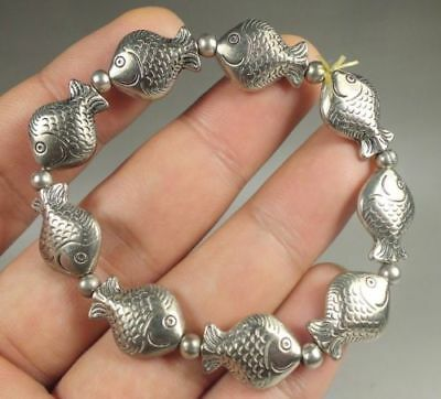 Collectible Old Handwork Tibet Silver Carved Lovely fish Organization Bracelet