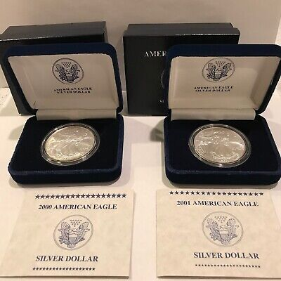 Two American Eagle Coins With Doble Box And Coa.1 Troy Oz 999 Silver Each
