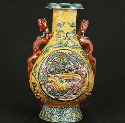 Chinese Old Jingdezhen Porcelain Collectable Handwork Carved Dragon Vase c02