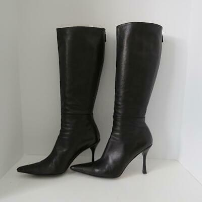 05ba6517a05 Gucci Black Leather Tall Knee High Heeled Pointed Toe Boots Size 11
