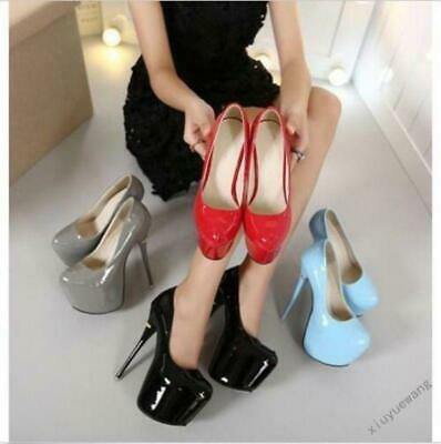 Womens Round Toe Patent Leather Clubwear High Heel Platform Stiletto Shoes pump