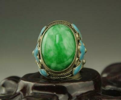 Collectible Chinese Old Inlay Green Jade Old Tibet Silver Cloisonne Flower Ring