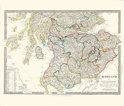 1836 SDUK Map of SOUTHERN SCOTLAND - Some Hand Coloring - Detailed - Outstanding