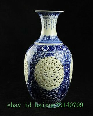 2 set China Jingdezhen hollow porcelain blue&white large vase QIANLONG mark e01