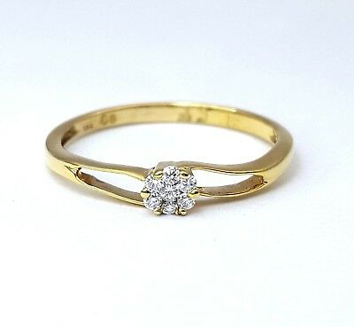 Ladies Ring 18ct (750, 18K) Yellow Gold Flower Natural Diamond Ring