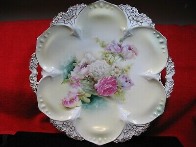 Antique RS Prussia multi-color pastel flower bouquet cake plate with handles