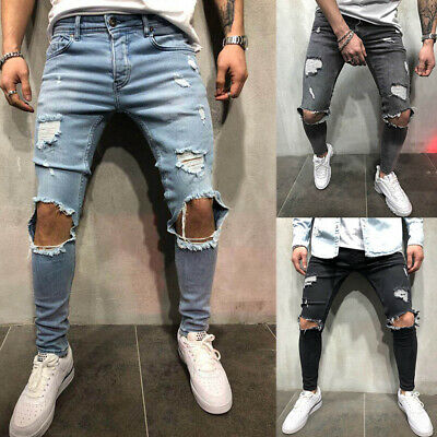 Men Cool Destroyed Frayed Denim Jeans Slim Fit Biker Ripped Pants Trousers New