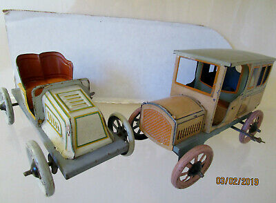 Old Fashion Cars >> 2 Vintage Tin Wind Up Old Fashioned Cars As Is 153 60