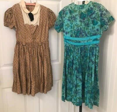 Vintage 1950's girls dress, lot of 2, cotton print B 30-31