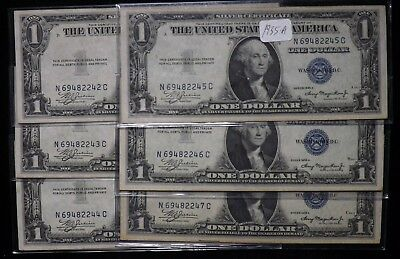 Lot of 6  UNC  Consecutive  1935 A  $1 Dollar Silver Certificate Paper Notes
