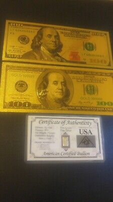 24K 99.9% Gold Leaf US $100 Ben Franklin & Silver Bullion Combo